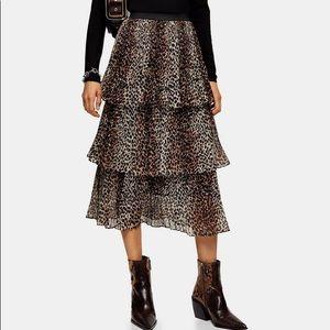 TopShop tiered leopard midi skirt